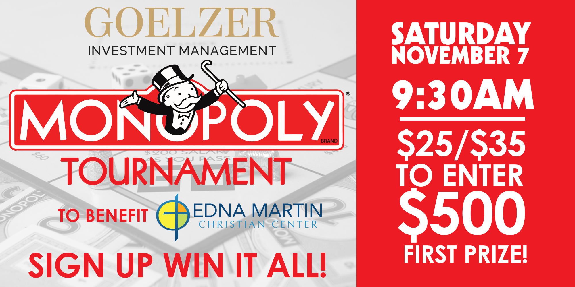 The Goelzer Investment Management MONOPOLY Tournament to benefit the Edna Martin Christian Center