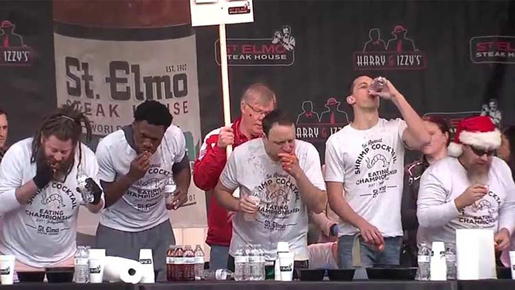 Joey Chestnut on his way to winning the 2017 St. Elmo Shrimp Cocktail Competition